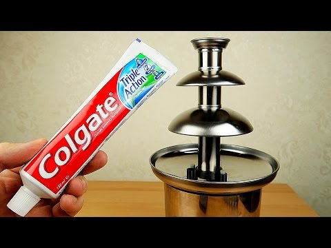 Зубная паста в шоколадном фонтане! Гель для душа и Лизуны в бочках