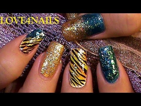 Turquoise  & Gold Tiger Carnival Nail Art Design Tutorial