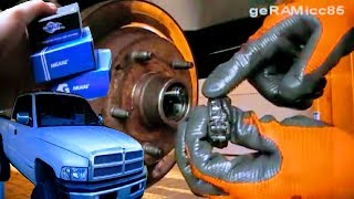 HOW TO REPLACE WHEEL BEARING | GET OUT+CHANGE RACE | REPAIR+FIX+GREASE HUB DODGE RAM PICK UP TRUCK