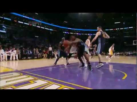 Andrew Bynum triple double (10 blocks) vs Denver Nuggets full highlights game 1 playoffs 2012.04.29