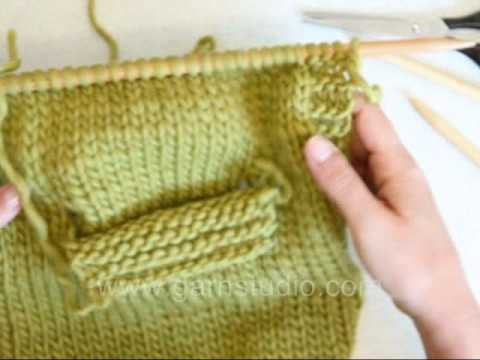 How to knit a pocket on the inside