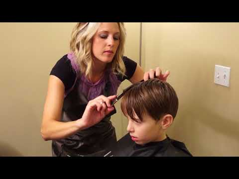 Young Justin Bieber Side Swept Haircut // how to cut boys hair