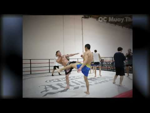 OC Muay Thai student photos of thai kickboxing pad work clinch Image 1