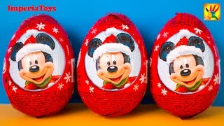 Disney MICKEY MOUSE 3 Surprise Eggs Unboxing 3 Christmas eggs surpirse Disney Mickey Mouse Minnie