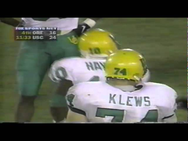 Oregon WR Donald Haynes 16 yard catch for a first down vs. USC 10-25-97