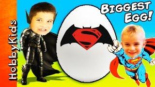 World's BIGGEST BATMAN vs SUPERMAN Surprise Egg! Dawn of Justice Family Fun Games HobbyKidsTV