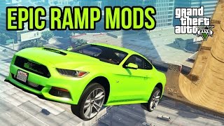 GTA 5 - EPIC 2015 Mustang GT! Impossible Challenge Course & Ramp Mod Showcase! (GTA V PC Mods)