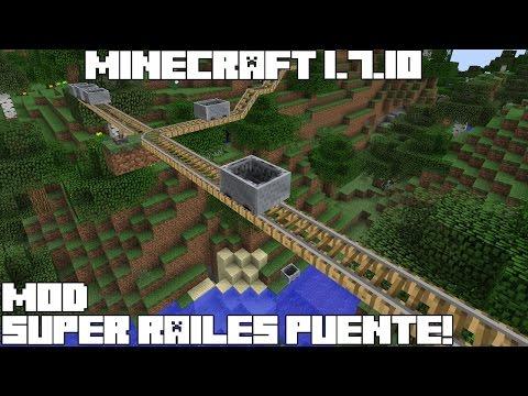 Minecraft 1.7.10 MOD SUPER RAILES PUENTE! Rail Bridges Mod Review Español!