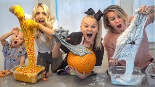 ULTIMATE HALLOWEEN SLIME CONTEST W/ JOJO SIWA!!! Making real PUMPKIN, SPIDER WEB, & CANDY CORN slime
