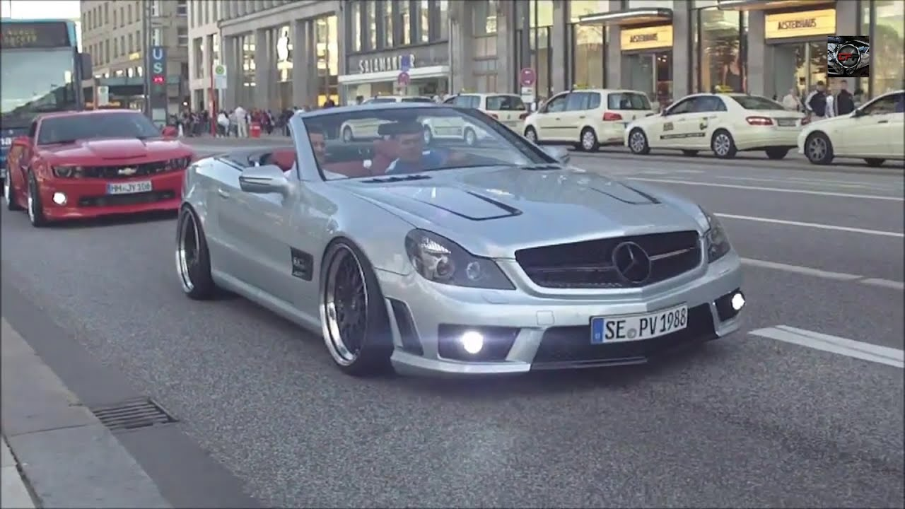 mercedes sl63 amg camaro ss supercharged extreme hard exhaust in hamburg hd youtube. Black Bedroom Furniture Sets. Home Design Ideas