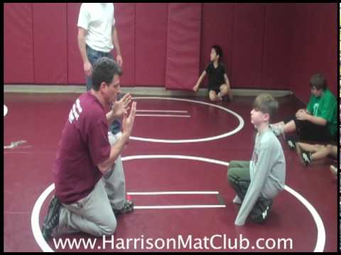 Youth Wrestling Coach Teaching Stand up from the Referee Position Image 1