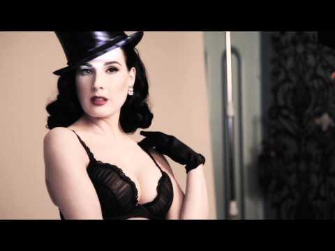 Dita Von Teese models her new lingerie collection for Von Follies