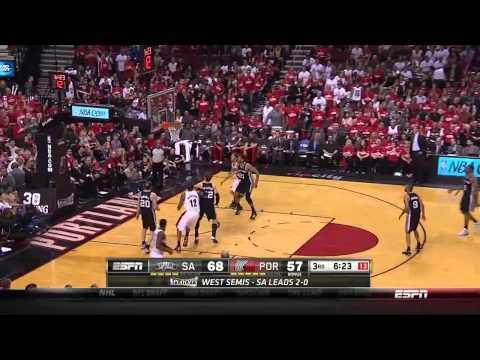 NBA, playoff 2014, Spurs vs. Trail Blazers, Round 2, Game 3, Move 25, Nicolas Batum, 3 pointer
