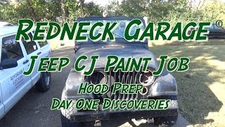 Jeep CJ-7 Paint Project - Gettin Started  - Bad Paint and Stripping