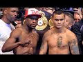 Mayweather vs. Maidana full weigh in & face off video