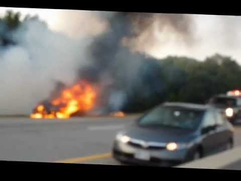 Brockville Hwy 401 Car Fire, Fire Dept To The Rescue Fri July 13/12 8:15pm