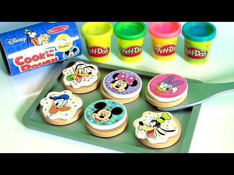 Bake Cookies with Play Doh Mickey Mouse Clubhouse Wooden Velcro Cookie Dough Baking Set Set for Kids