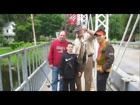 Fishing report - NJ Fishing - Watch Ken Beam & Ron catch Trout off the Bridge in Califon New Jersey 5/22/2011 Video