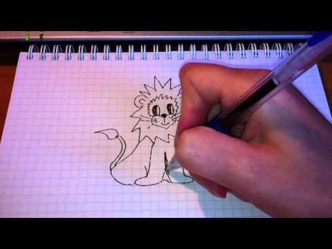 Видео как нарисовать львёнка