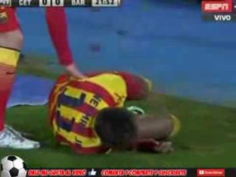 Lesion de Neymar Getafe vs Barcelona Copa Del Rey 16/01/2014