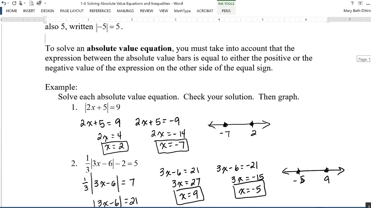 Absolute value equations and inequalities worksheet 1 6