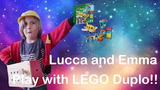FUN WITH LEGO DUPLO AIRPLANE SET and PRETEND PLAY WITH CONSTRUCTION TOOLS!