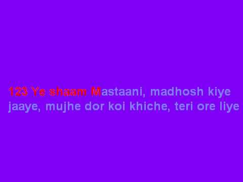 Ye shaam mastani karaoke with lyrics