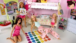 Barbie Bunk Bed Pink Bedroom Evening Routine - SLEEPOVER Slumber Party Play Toys