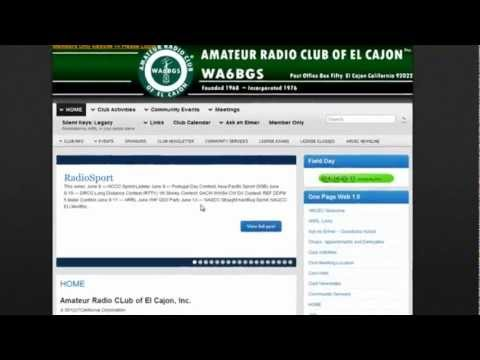 How to navigate on the Amateur Radio Club of El Cajon's main website.
