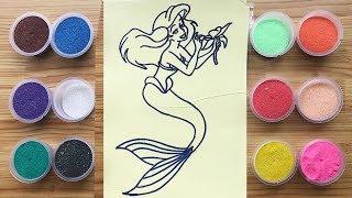 Đồ chơi trẻ em TÔ MÀU TRANH CÁT NÀNG TIÊN CÁ ARIEL Coloring Mermaid Ariel So Beautiful (Chim Xinh)
