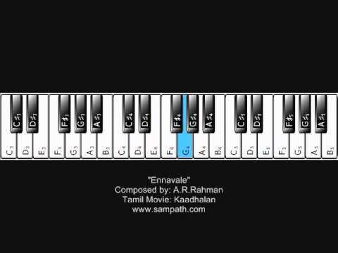 Ennavale - Kaadhalan by A.R.Rahman - Piano Tutorial