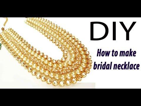 DIY How to make Multi layered kundan bridal designer necklace jewelry making tutorial at home