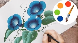 Paint a flower, The convolvulus, Morning Glory flower, One stroke, irishkalia