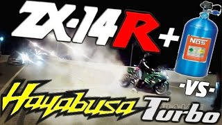 NITROUS Kawasaki ZX14 *SNIPER* vs TURBO HAYABUSA *Rob* - MONEY RACE $$$