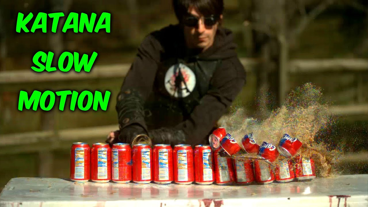 Katana Cut 10 Soda Cans in Half - Slow Motion