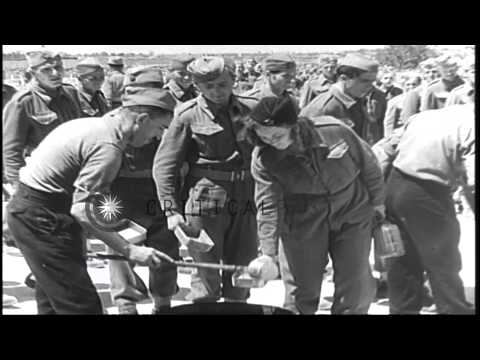 The Yugoslav Partisans being served food in Yugoslavia during World War II. HD Stock Footage