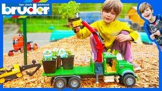 Bruder Logging Truck Delivers Organic Plants