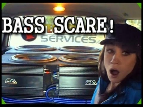 Scaring My Sister w/ Loud Car Audio Bass | 4 Audioque HDC4 Subs | 3500d.1 / 2200d.1 | Pioneer Deck
