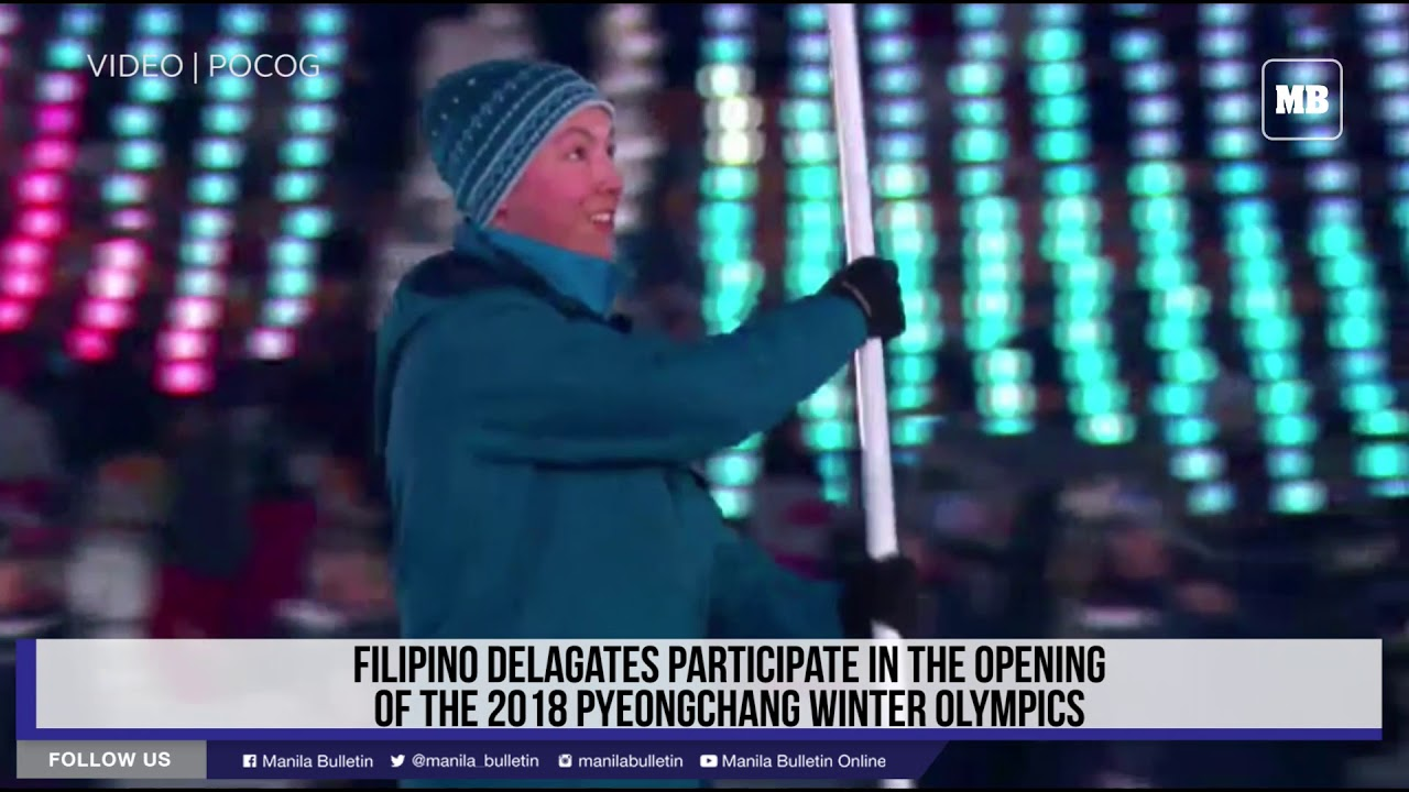 Filipino delegates participate in the opening of the 2018 Pyeongchang Winter Olympics