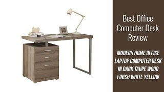 Modern Computer Desk Review - Modern Home Office Laptop Computer Desk in Dark Taupe Wood Finish