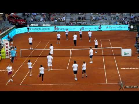 Rafael Nadal, Iker Casillas, Serena Williams, Rudy Fernandez, Andy Murray playing football tennis