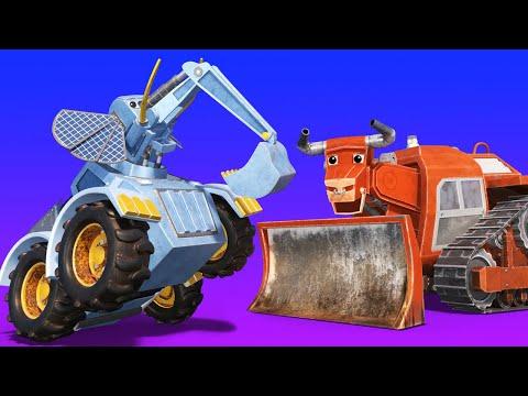 Animacars - Buldozerul taur si excavatorul elefant o iau razna pe campie - desene pentru copii