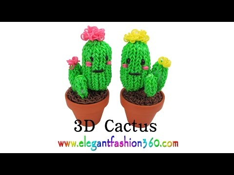 Rainbow Loom Cactus 3D Charms - How to Loom Bands Tutorial by...