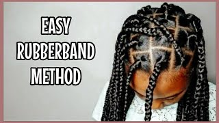 How To Box Braid for Beginners | Rubber Band Method | Protective Style