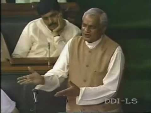 Atal Bihari Vajpayee Speech in Parliament on Confidence Motion - PART 1/2
