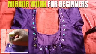 Best And Easy Mirror Work For Beginners / mirror with glue for blouse / no stitching required/telugu