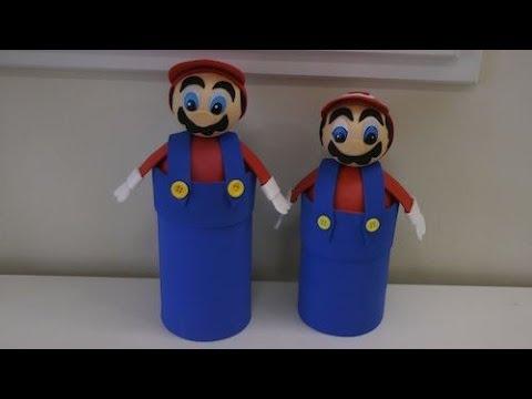 Porta treco do Mario Bros feito de garrafa pet