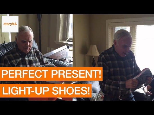 Dad is Ecstatic About his new Light-Up Sneakers - Video