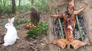 Primitive Technology: Simple rabbit trap in the forest and bake it in an aboriginal way