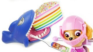 Paw Patrol Skye Dentist works on Shark Attack Toothbrush Brush Teeth Learn Colors for Kids Video